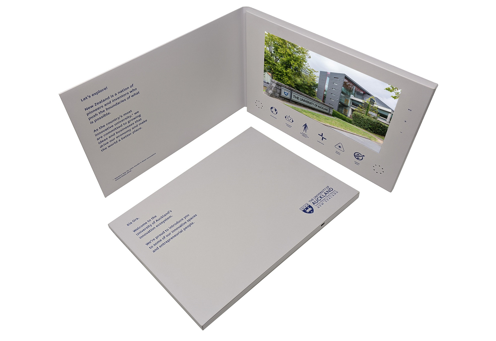 A4 hardback video brochure with 10 inch screen